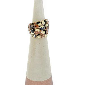 Chunky Ring Wide Front Enamel Pieces Dark Goldtone